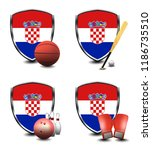 croatia shield. sports items   Shutterstock . vector #1186735510