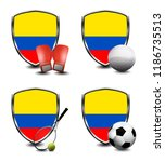 colombia shield. sports items   Shutterstock . vector #1186735513