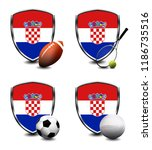croatia shield. sports items   Shutterstock . vector #1186735516
