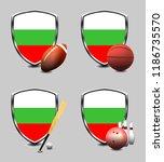 bulgaria shield. sports items   Shutterstock . vector #1186735570