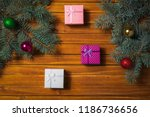christmas decorations. holiday... | Shutterstock . vector #1186736656