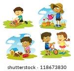 illustration of kids on a white ... | Shutterstock . vector #118673830