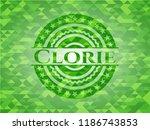 calorie realistic green emblem. ... | Shutterstock .eps vector #1186743853