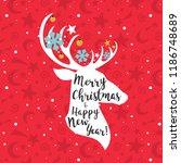 christmas deer. merry christmas ... | Shutterstock .eps vector #1186748689