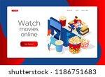 watch movies online. the girl... | Shutterstock .eps vector #1186751683