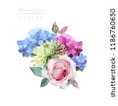 bouquet of roses  watercolor ... | Shutterstock .eps vector #1186760650