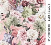 seamless floral pattern with... | Shutterstock . vector #1186761376