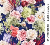 seamless floral pattern with... | Shutterstock . vector #1186761379