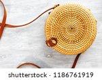 bamboo bag on white wooden... | Shutterstock . vector #1186761919