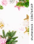 pastel pink confetti  bows and... | Shutterstock . vector #1186764169