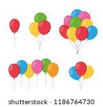 balloons in cartoon flat style... | Shutterstock .eps vector #1186764730