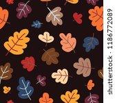 autumn pattern with oak leaves. ...   Shutterstock .eps vector #1186772089