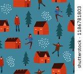 winter theme seamless pattern... | Shutterstock .eps vector #1186781803