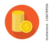 dollar coin flat icon. vector... | Shutterstock .eps vector #1186789036