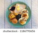 breakfast dish with bread... | Shutterstock . vector #1186793656