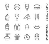 fast food outline icon set... | Shutterstock .eps vector #1186794340