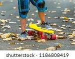 leg are on a skateboard close... | Shutterstock . vector #1186808419