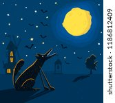 night background with wolf and... | Shutterstock .eps vector #1186812409