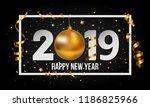 vector 2019 black happy new... | Shutterstock .eps vector #1186825966