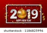 vector 2019 red happy new year... | Shutterstock .eps vector #1186825996