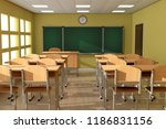 chalkboard with rows of wooden... | Shutterstock . vector #1186831156