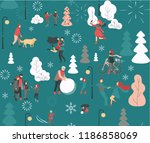 winter poster with happy people ... | Shutterstock .eps vector #1186858069