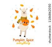 cute llama fall illustration... | Shutterstock .eps vector #1186862050