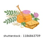drawing of dipper in glass jar... | Shutterstock .eps vector #1186863709