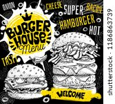 burger house cafe restaurant... | Shutterstock .eps vector #1186863739