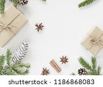 christmas composition with gift ... | Shutterstock . vector #1186868083