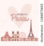 cute poster with landmarks in... | Shutterstock .eps vector #1186873603