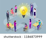 people work in a team and... | Shutterstock .eps vector #1186873999