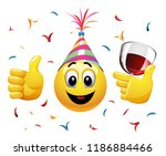 smiling ball celebrating.... | Shutterstock .eps vector #1186884466