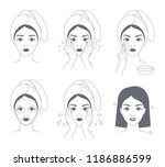 how to apply face mask... | Shutterstock .eps vector #1186886599