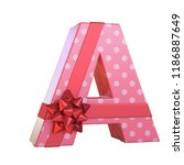 gift box with red ribbon bow 3d ... | Shutterstock . vector #1186887649