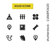 medicine icons set with patch ...