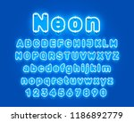 neon city color blue font.... | Shutterstock .eps vector #1186892779