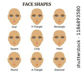 shapes of women's faces. vector ... | Shutterstock .eps vector #1186893580