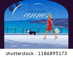 woman with dog walking by the... | Shutterstock .eps vector #1186895173