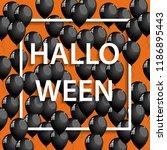 vector halloween frame with... | Shutterstock .eps vector #1186895443