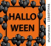 vector halloween frame with... | Shutterstock .eps vector #1186895446