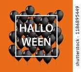 vector halloween frame with... | Shutterstock .eps vector #1186895449