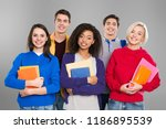 international group of happy... | Shutterstock . vector #1186895539