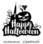 happy halloween black and white ... | Shutterstock .eps vector #1186896109