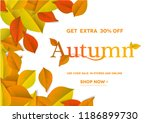 autumn lettering on natural ... | Shutterstock .eps vector #1186899730