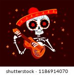 day of the dead postcard vector ... | Shutterstock .eps vector #1186914070