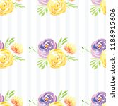 hand painted watercolor floral...   Shutterstock . vector #1186915606