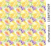 hand painted watercolor floral...   Shutterstock . vector #1186915609
