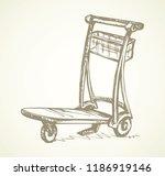 big empty arrival move handcart ... | Shutterstock .eps vector #1186919146