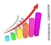 a bars graph  with an arrow... | Shutterstock . vector #118691959